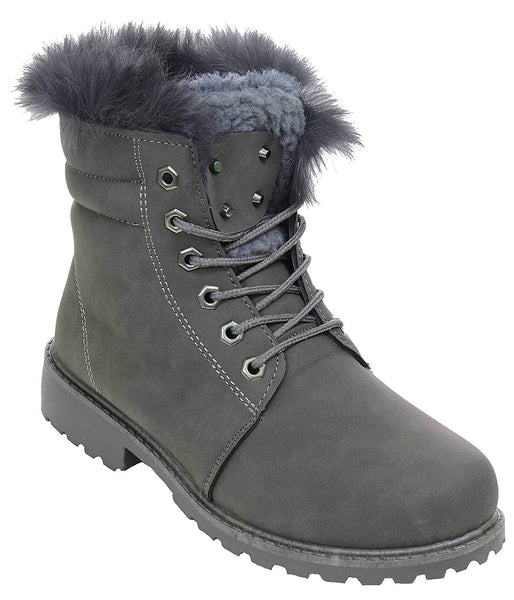 Fur & Shearling Trim Lug Boots Vegan Suede Booties Women's Grey