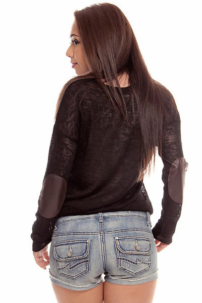 Rocker Chic Leather Elbow Pad Long Sleeve Scoop Neck T-Shirt Blouse Shirt Large Black