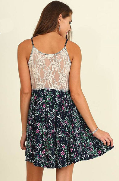 Navy Blue Floral Print Sleeveless Sheer Lace Dress