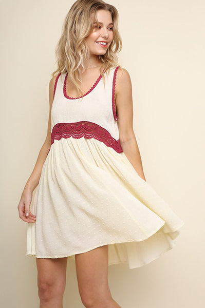 Polka Dot Sleeveless Lace Trim Scoop Neck Dress