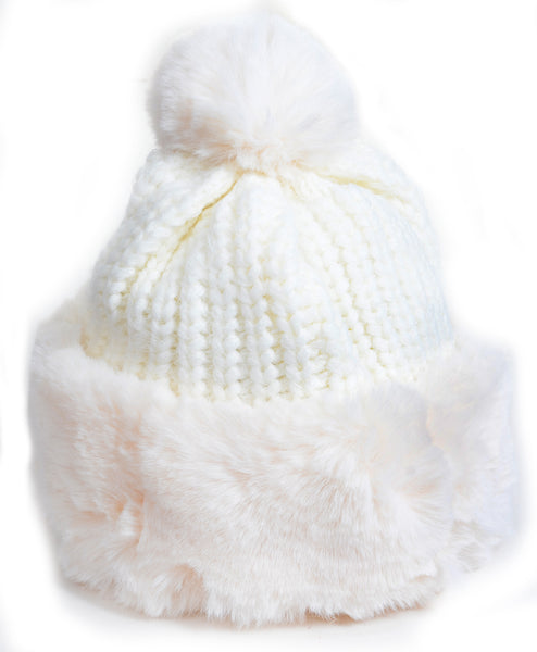 Super Furry Vegan Pom Fashion Winter Santa Beanie Hat