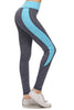 Yoga Full Length Active Wear Leggings Banded High Waist Colorblock Blue Gray