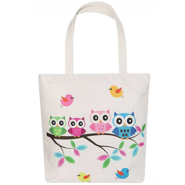 Cute Owl Family Cartoon Print Ecco Tote Shopper Bag Vegan