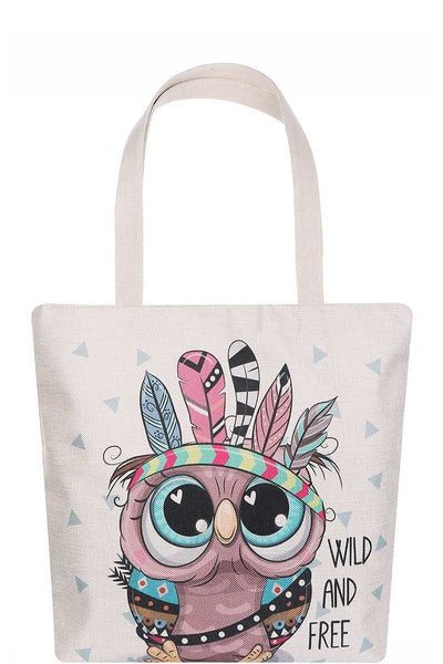 Cute Owl Cartoon Print Ecco Tote Shopper Bag Vegan