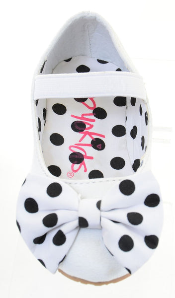 Girls Polka Dot Bows Single Strap Mary Jane Flats Kids