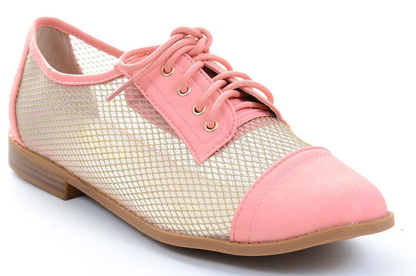 Mesh Clear Lace Up Almond Toe Oxford Shoes Fourever Funky
