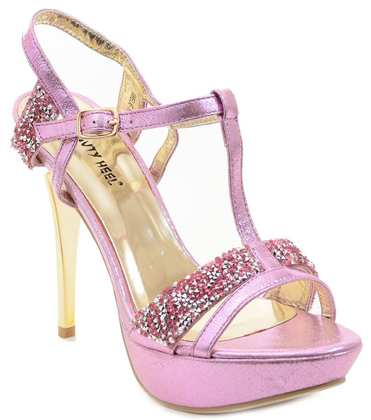 Glitter Rhinestone Evening Platform Sandal Formal Women