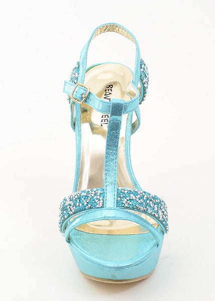 Glitter Rhinestone Evening Platform Sandal Formal Women's Heels