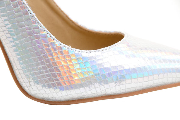 Iridescent Pointy Toe Classic High Heels Pump Shoes Women's