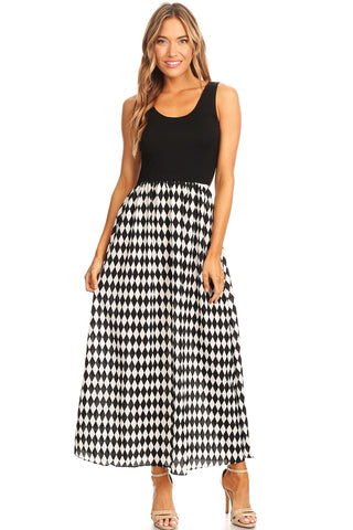 Sleeveless Black & White Diamond Pattern A-line Maxi Dress Womens