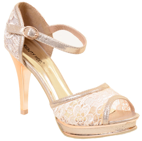 Lace Peep-Toe Wedding Bridal Formal Heels Sandals Women's
