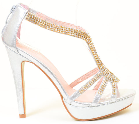 Rhinestone Evening Platform Sandal Formal Women's Heels Silver