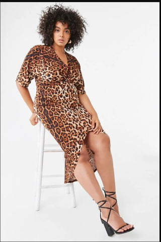 Plus Size Leopard High-Low Dress