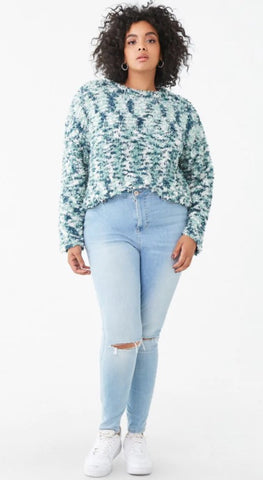 Plus Size Fuzzy Chenille Sweater
