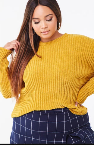 Mustard Yellow Plus Size Ribbed Chenille Sweater