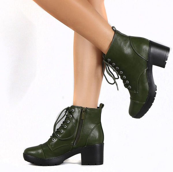 Lug Combat Cap Toe Booties Women's Vegan Leatherette Ankle Boots