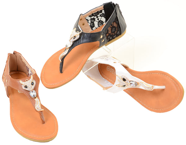 Cute Fox Sparkle & Lace Flat Thong Womens Vegan Sandals