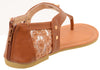 Cute Fox Sparkle & Lace Flat Flip Flop Thong Women's Vegan Leather Sandals