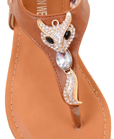 Cute Fox Sparkle & Lace Flat Flip Flop Thong Women's Vegan Leather Sandals …