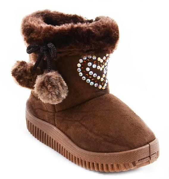 Super Furry Rhinestone Hearts Infant Baby Fashion Pom Winter Boots
