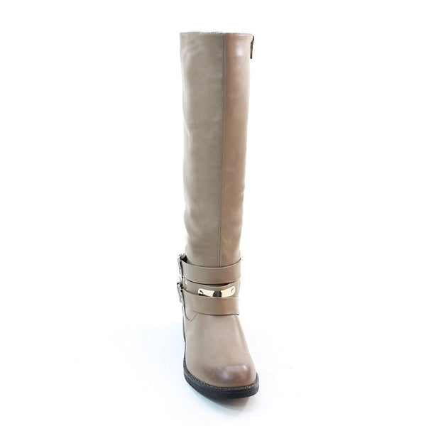4everfunky Women's Double Buckles Zipper Low Heel Knee High Boots