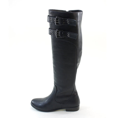 Double Buckles Knee High Low Heel Riding Women's Vegan Boots