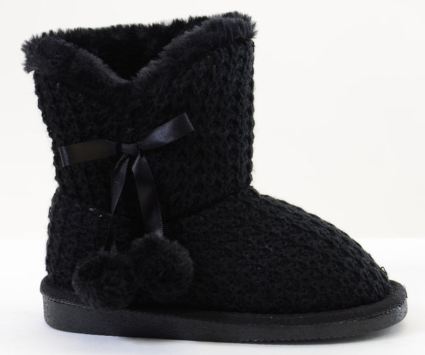 Sweater Knit Pom-pom Vegan Fur Girls Winter Warm Boots KIDS