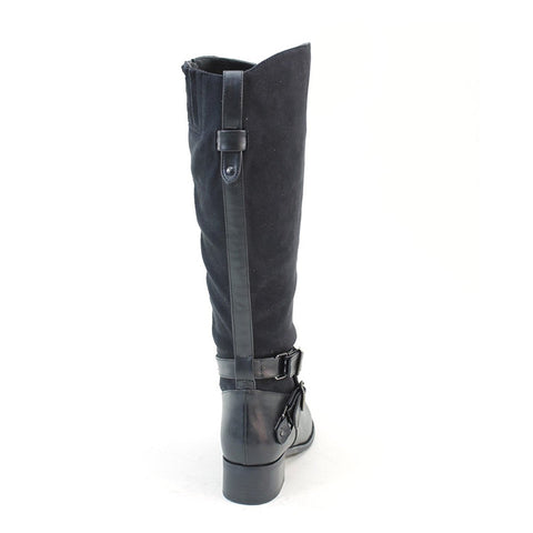 Vegan Suede & Leather Riding Ankle Strap Knee-High Women's Boots