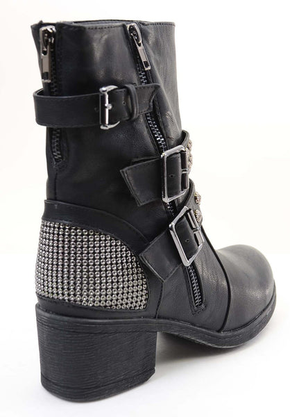 Studded Buckle Zipper Combat Military Women's Vegan Boots