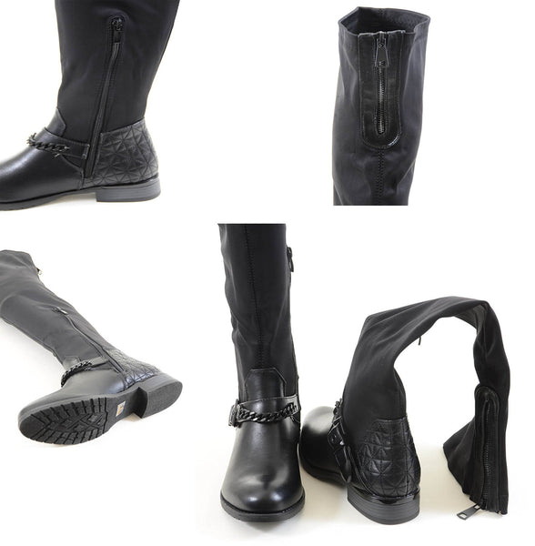Chain Anklet Harness Knee High Stretchy Knee Women's Vegan Boots