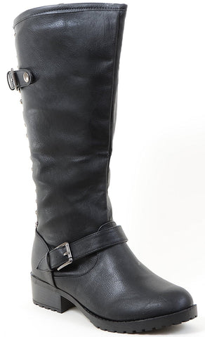 Studded Buckle Riding Knee Vegan Leather Women's Boot