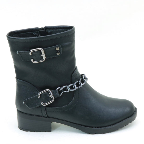 Moto Chain Anklet Combat Lug Women's Vegan Leather Boots