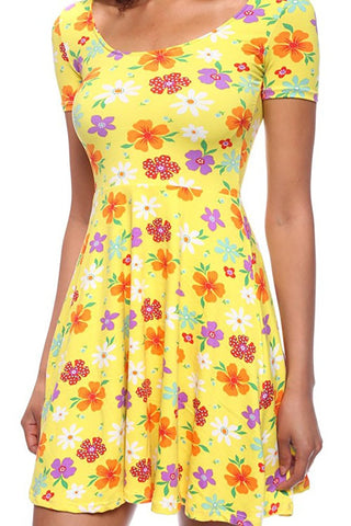 Skater Fit & Flare Floral Nautical Junior Dress Colorful Prints