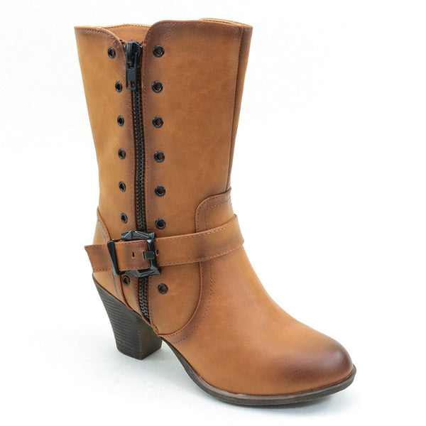 Distressed Mid-calf Buckle Chunky Heel Women's Vegan Boots