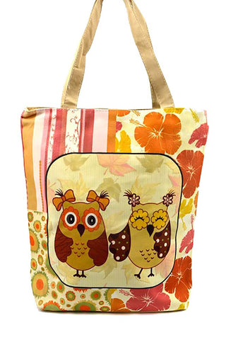 Darling Owls in Bows Tropical Striped Canvas Tote Bag Purse
