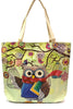 School Teacher Owl w/Books Canvas Tote Bag Purse Bookbag Messenger Carry On