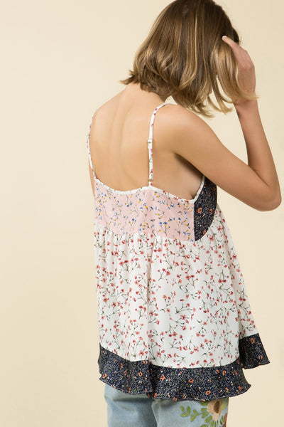 Babydoll  Boho Floral Print Adjustable Tank Top