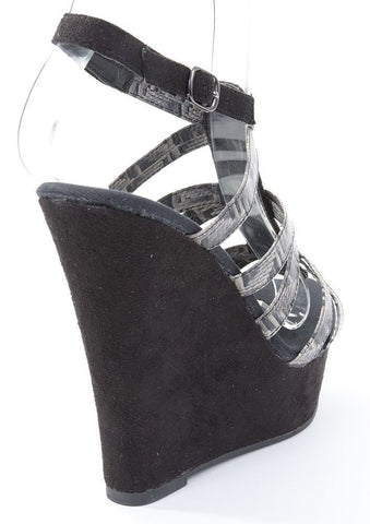 Marta-82 Strappy Faux Leather Open Toe Wedge Sandals