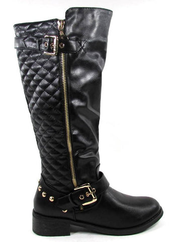 Quilted Zipper Leatherette Knee High Boot