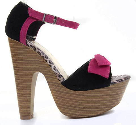 Fuchsia Faux Suede Bow Ankle Buckle Wooden Platform Chunky Heels