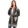 Long Body Aztec Thick Knit Cardigan Open Front