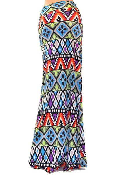 Colorful Stained Glass Womens Fashion Maxi Skirt U.S.A