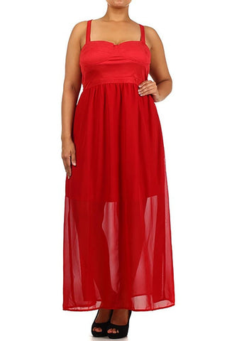 Womens Plus Size Solid Red Semi Sheer Elegant Maxi Dress