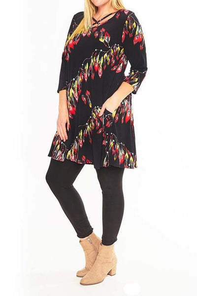 Womens Black Boho Feather Printed 3/4 Sleeve Fashion Dress U.S.A