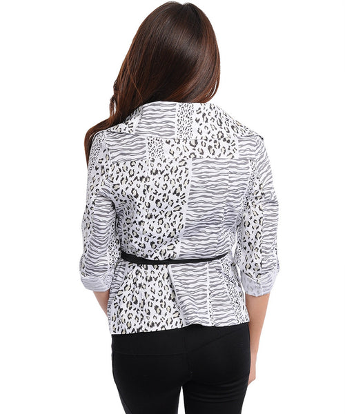Black and White Abstract Animal Leopard Printed Collared Jacket Womens