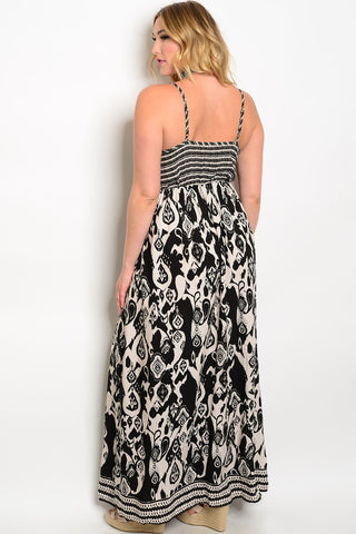 Plus Size Floral Combo Print Fashion Maxi Skirt