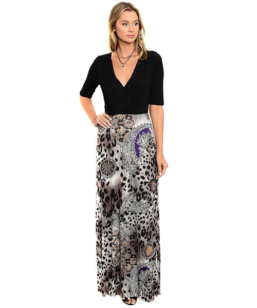 Womens Abstract Surplice Leopard Jersey Maxi Dress U.S.A