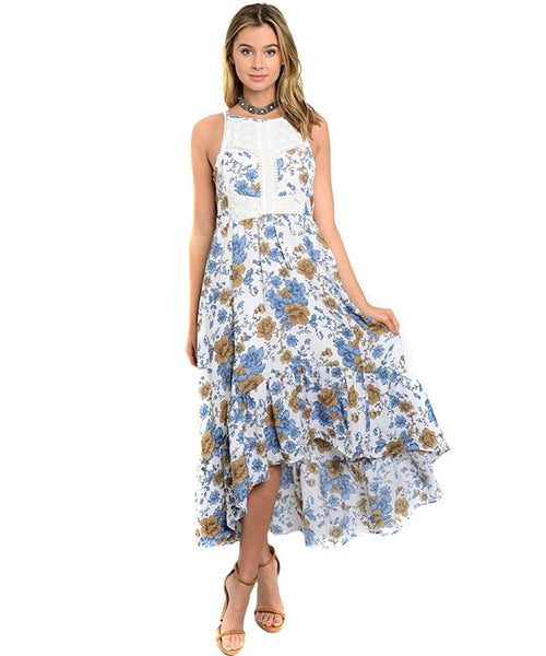 Blue Floral & Crochet Open Back Hi-Lo Maxi Dress