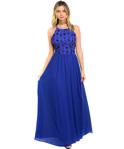 Royal Blue Floral Sequin Strappy Evening Maxi Dress