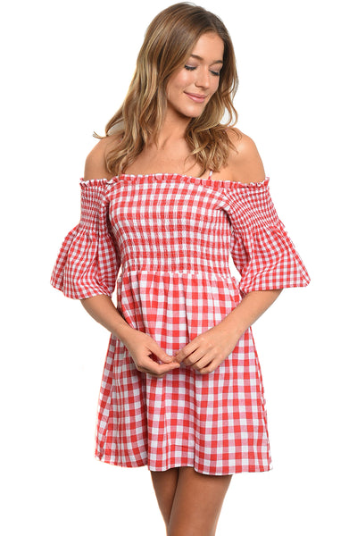 Womens Red Gingham Rockabilly Country Off The Shoulder Fashion Dress